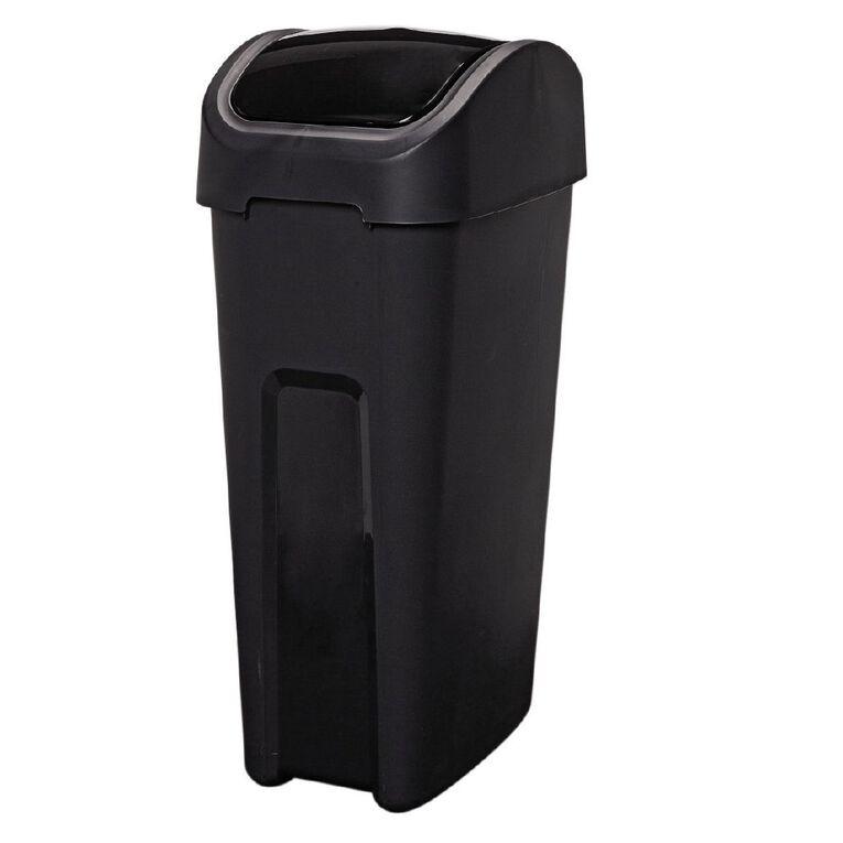 Living & Co Rubbish Bin Slim Line Flip Top Black 32L, , hi-res