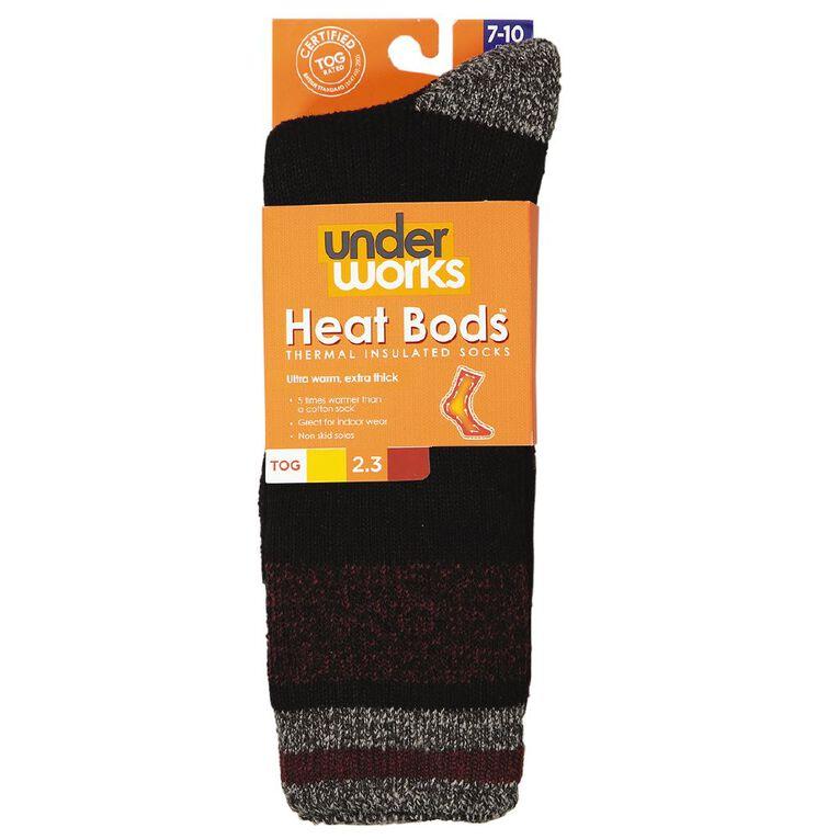 Underworks Men's Heatbods Socks 1 Pair, Black, hi-res