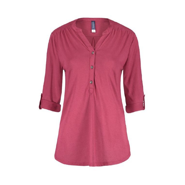 Pickaberry Women's Henley Top, Pink Dark, hi-res