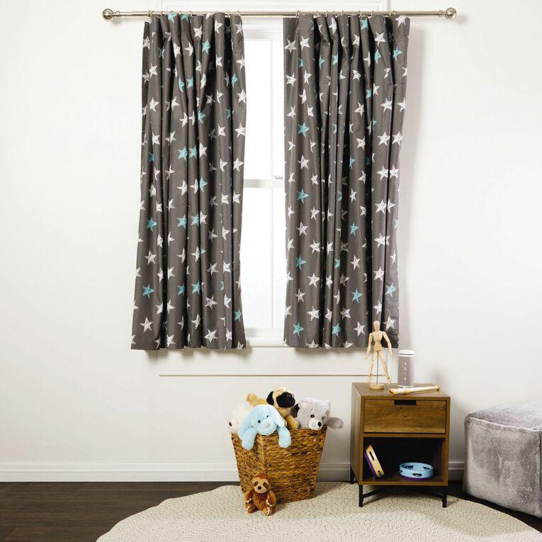 Living & Co Kids Curtains Stars Grey 230-330cm Wide/160cm Drop, Grey, hi-res