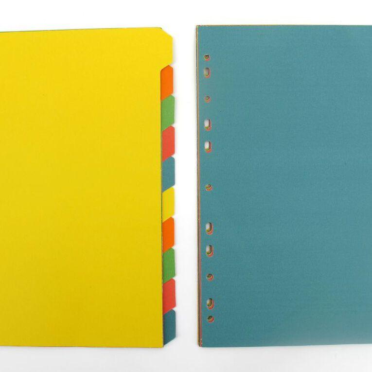 10 Tab Bright 5 Colour Dividers A4, , hi-res
