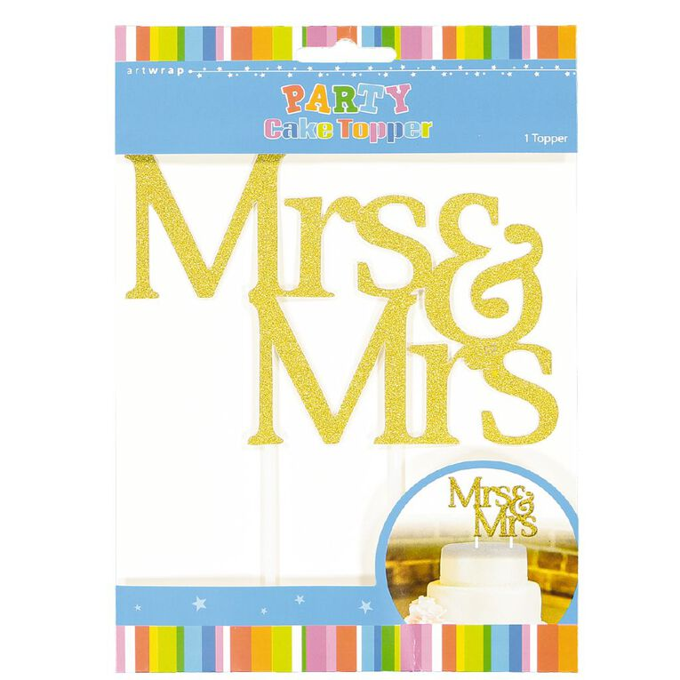 Artwrap Cake Topper Mrs & Mrs Gold Glitter, , hi-res