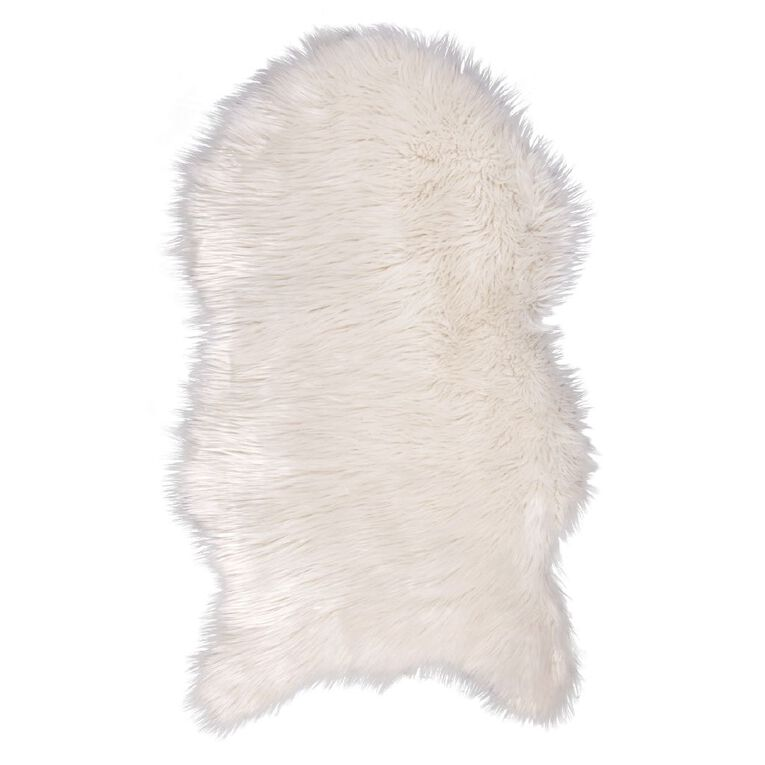 Living & Co Faux Sheep Skin Rug White 60cm x 100cm, White, hi-res image number null