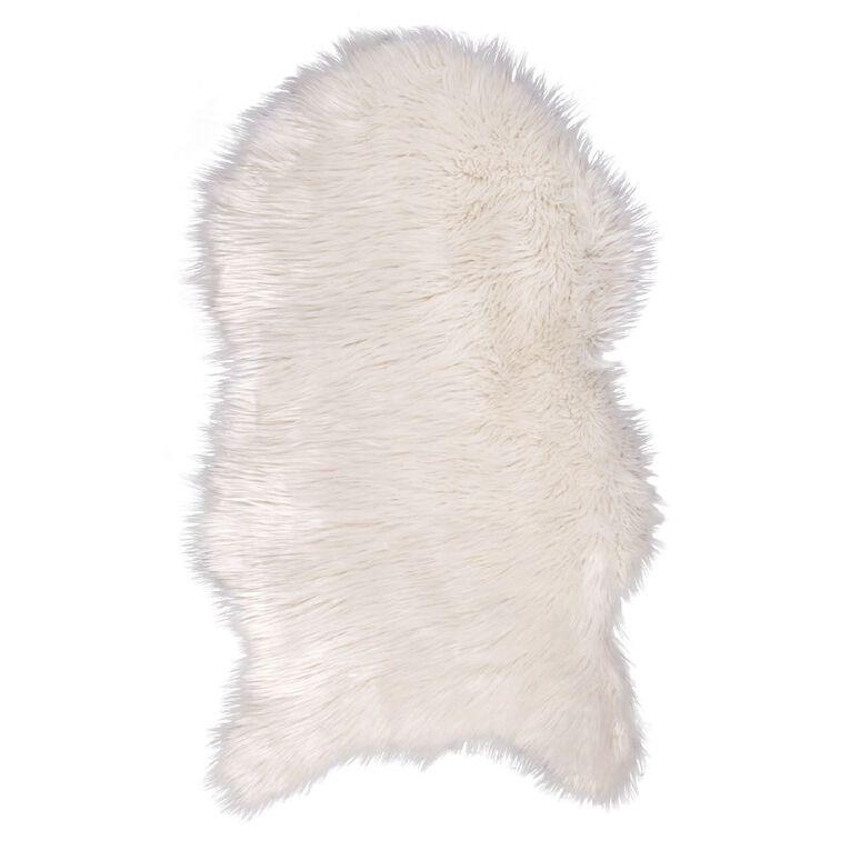 Living & Co Faux Sheep Skin Rug White 60cm x 100cm, White, hi-res