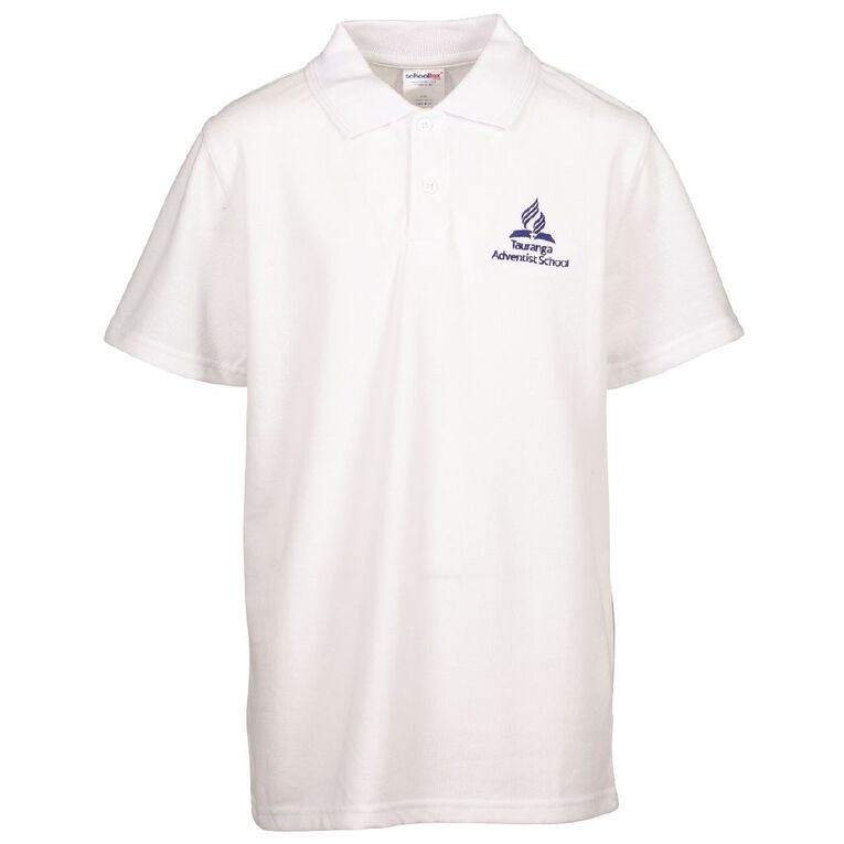 Schooltex Tauranga Adventist Short Sleeve Polo with Embroidery, White, hi-res