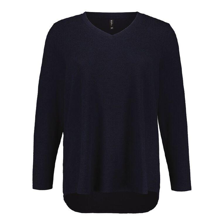 H&H Plus Women's Brushed Knit V Neck Top, Blue Dark, hi-res