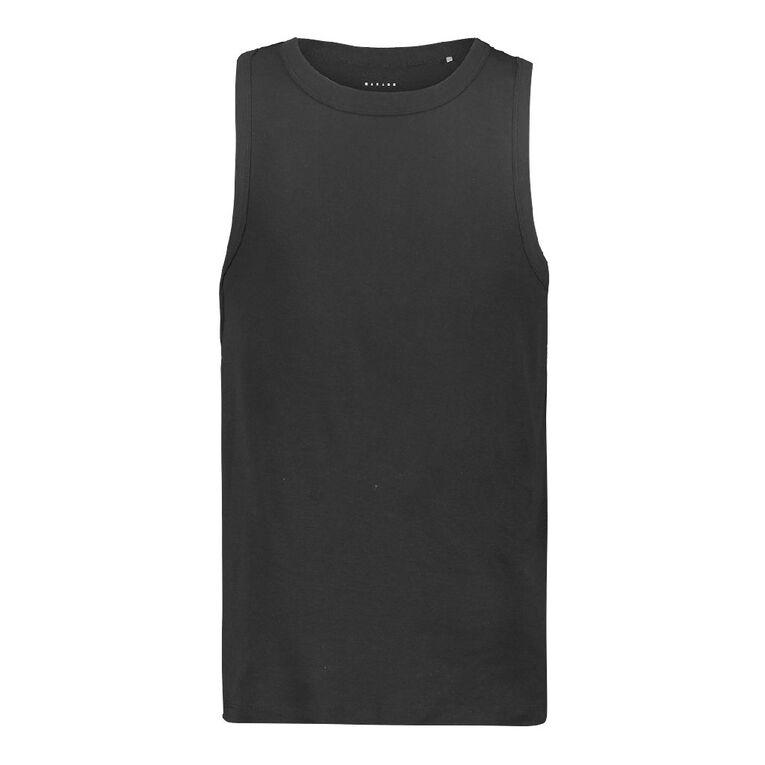 Garage Men's Plain Singlet, Black, hi-res