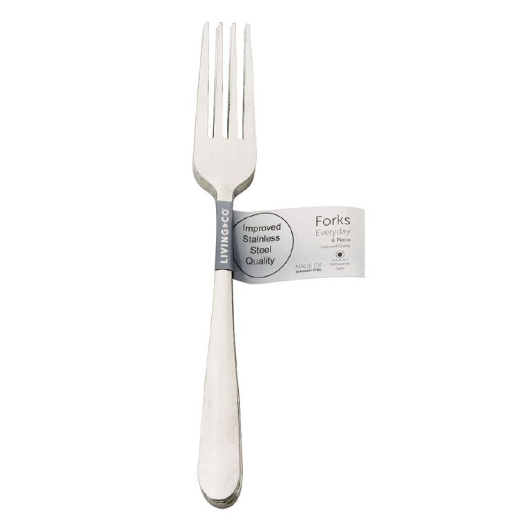 Living & Co Everyday Forks Stainless Steel 6 Pack, , hi-res