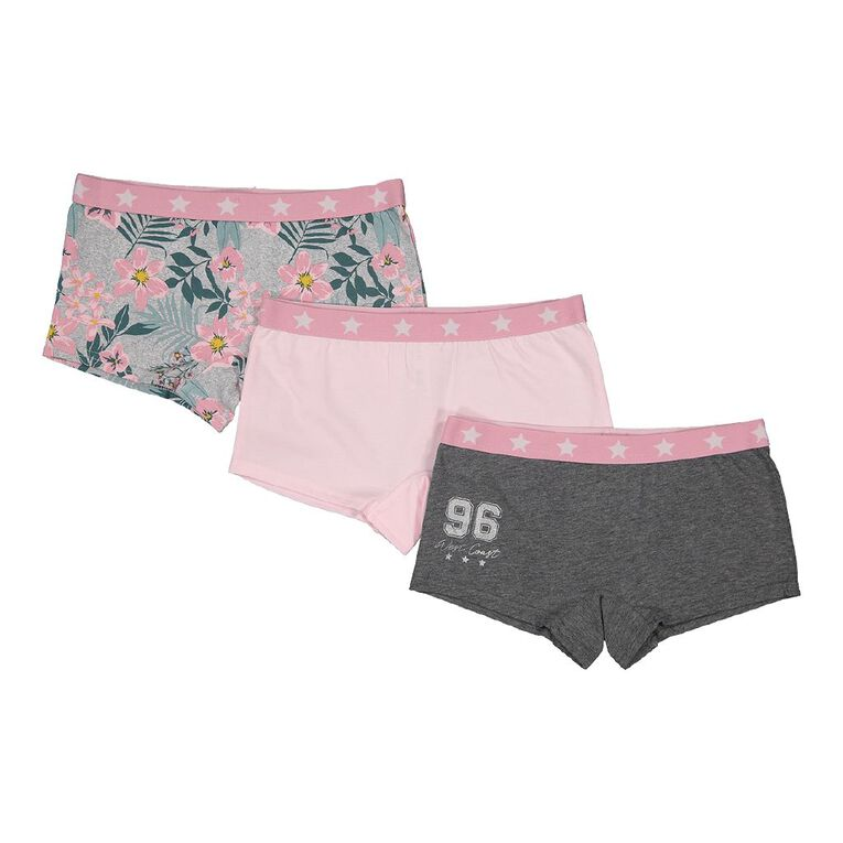 H&H Girls' Shortie Briefs 3 Pack, Charcoal/Marle, hi-res