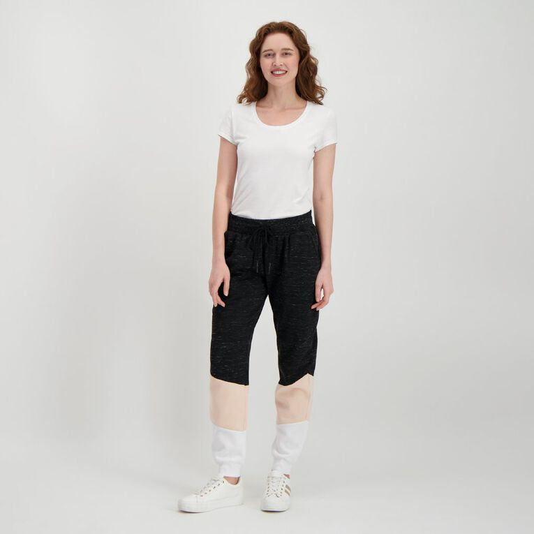H&H Women's Panelled Trackpants, Black, hi-res
