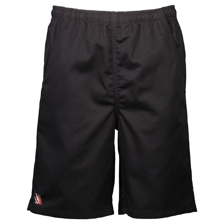Schooltex Marshland Drill Rugger Shorts with Embroidery, Black, hi-res