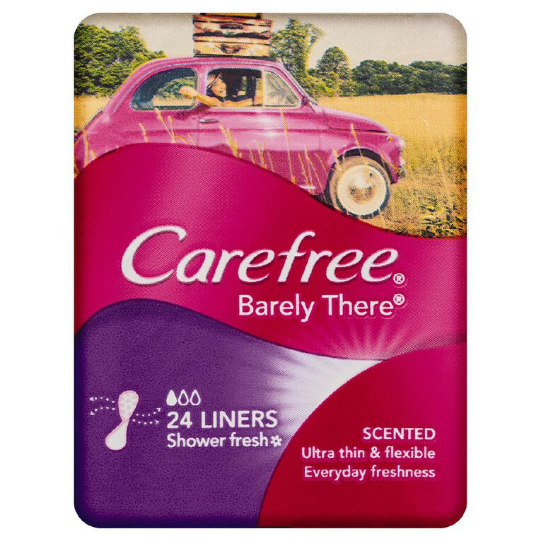 Carefree Liners Barely There Shower Fresh Scented 24 Pack, , hi-res