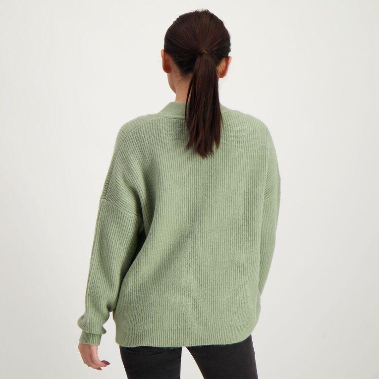 H&H Button Rib Cardigan, Green Light, hi-res