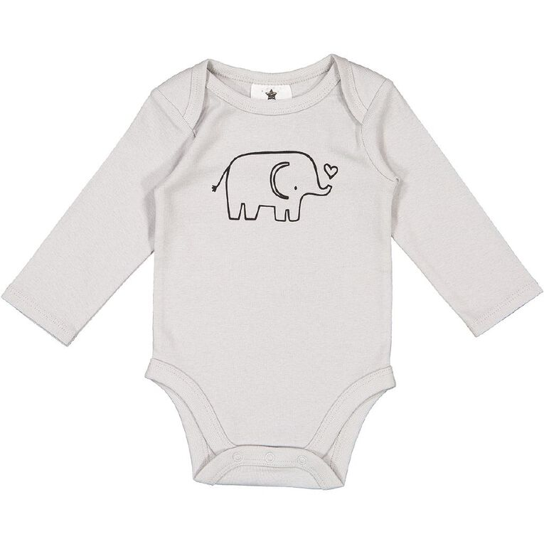 Young Original Baby Long Sleeve Printed Bodysuit, Grey Light, hi-res image number null
