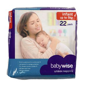 Babywise Nappies Infant Convenience 22 Pack