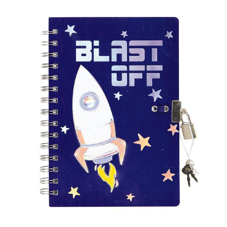 Kookie Space Lock Notebook Navy A5, , hi-res