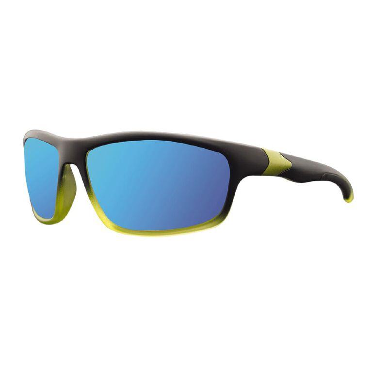 Men's Wrap Mirror Polarised Sunglasses, Black/Green, hi-res