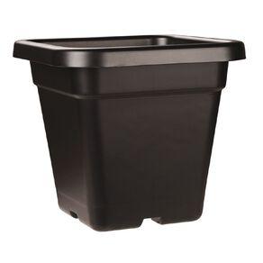 IP Plastics Square Resin Planter Pot 32cm Black 18L