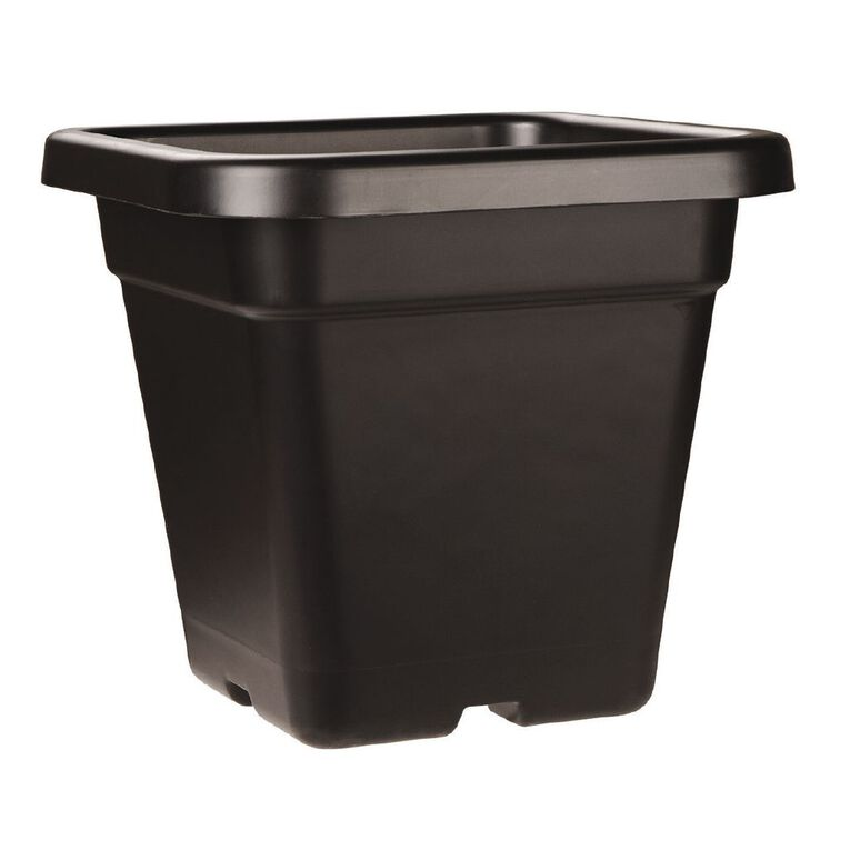 IP Plastics Square Resin Planter Pot 32cm Black 18L, , hi-res
