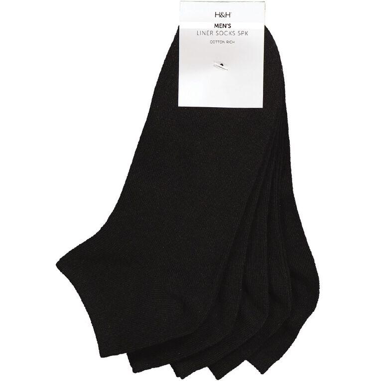 H&H Men's Low Cut Liner Socks 5 Pack, Black, hi-res