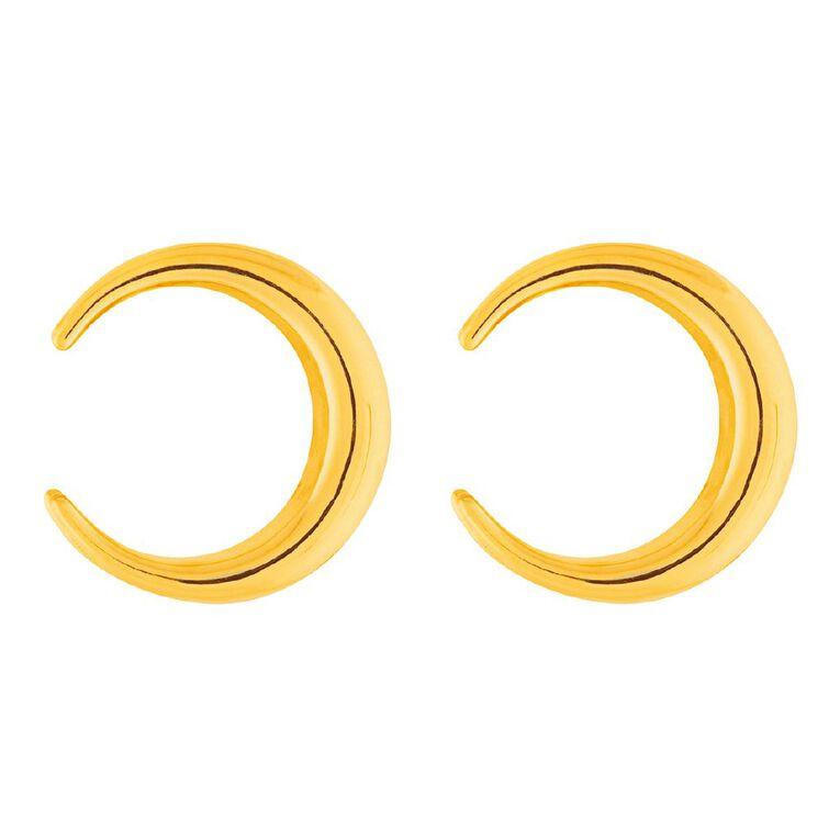 9ct Gold Cresent Moon Stud Earrings, , hi-res