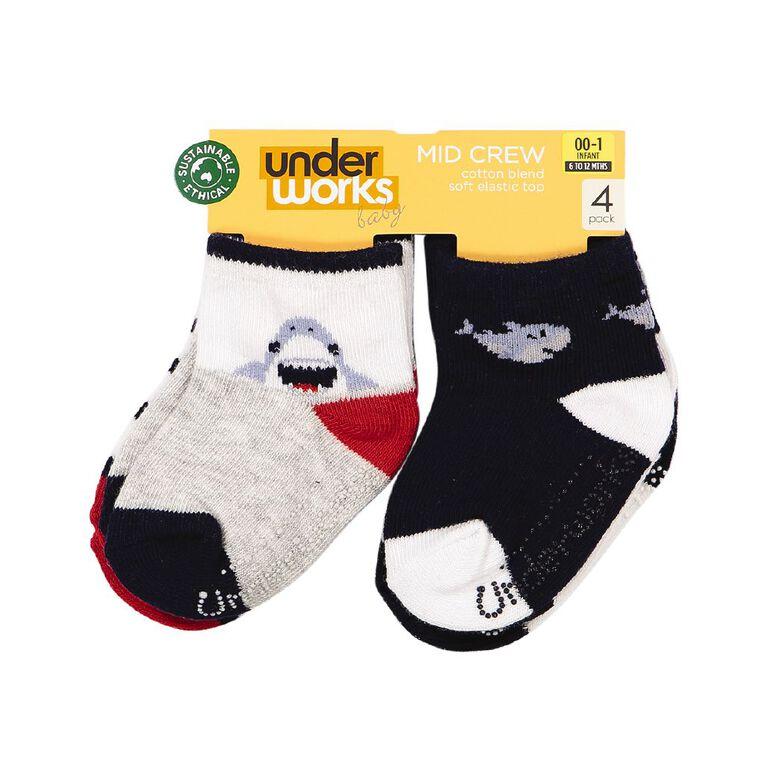 Underworks Infants' Patterned Mid Crew Socks 4 Pack, Grey, hi-res