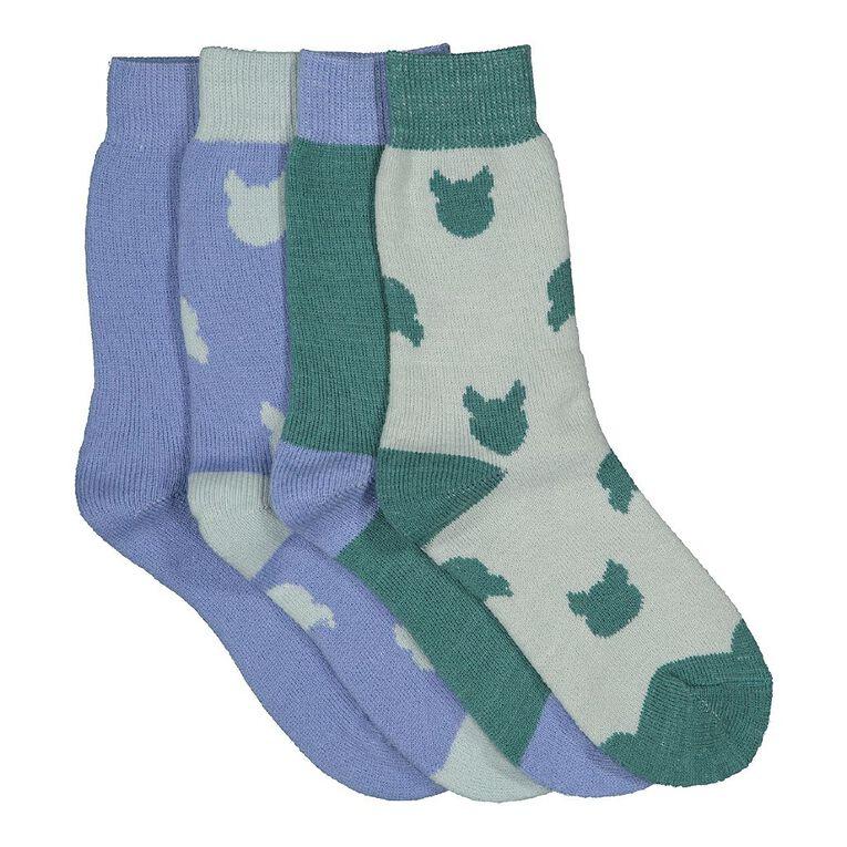 H&H Girls' Home Socks 4 Pack, Green Light, hi-res