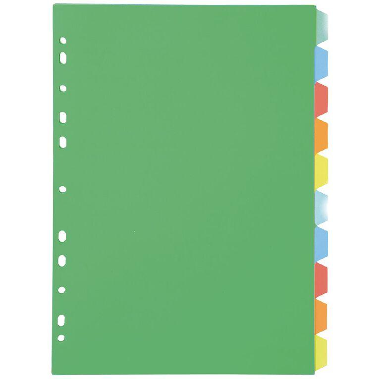 Dividers PP 10 Tab Multi-Coloured A4, Multi-Coloured, hi-res