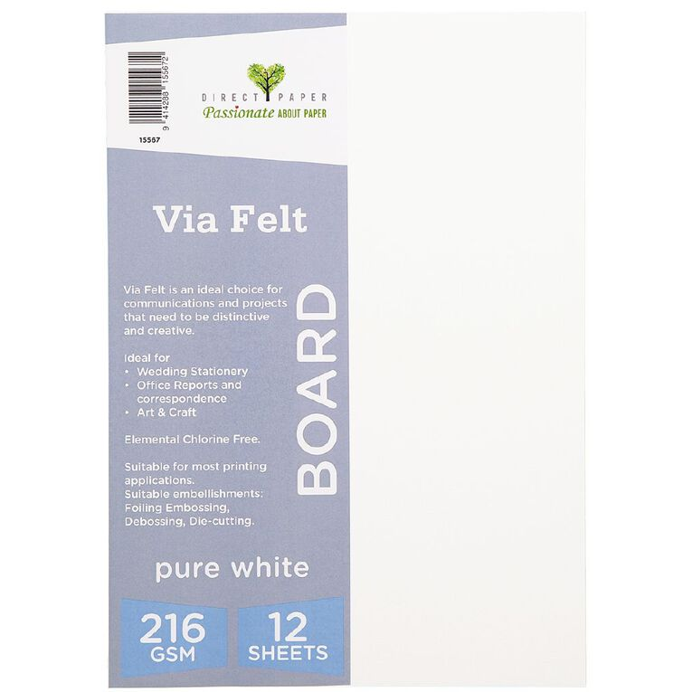 Direct Paper Via Felt 216gsm 12 Pack Pure White A4, , hi-res