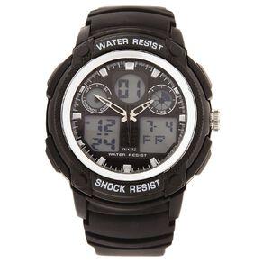 Active Intent Men's Sports Digital Watch Black Silver