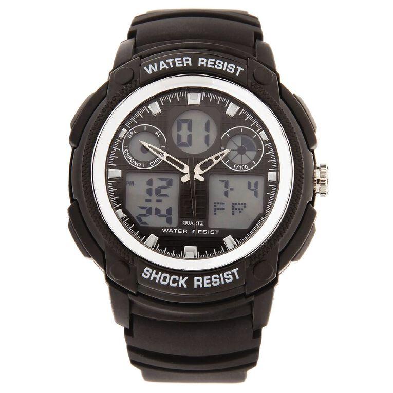 Active Intent Men's Sports Digital Watch Black Silver, , hi-res