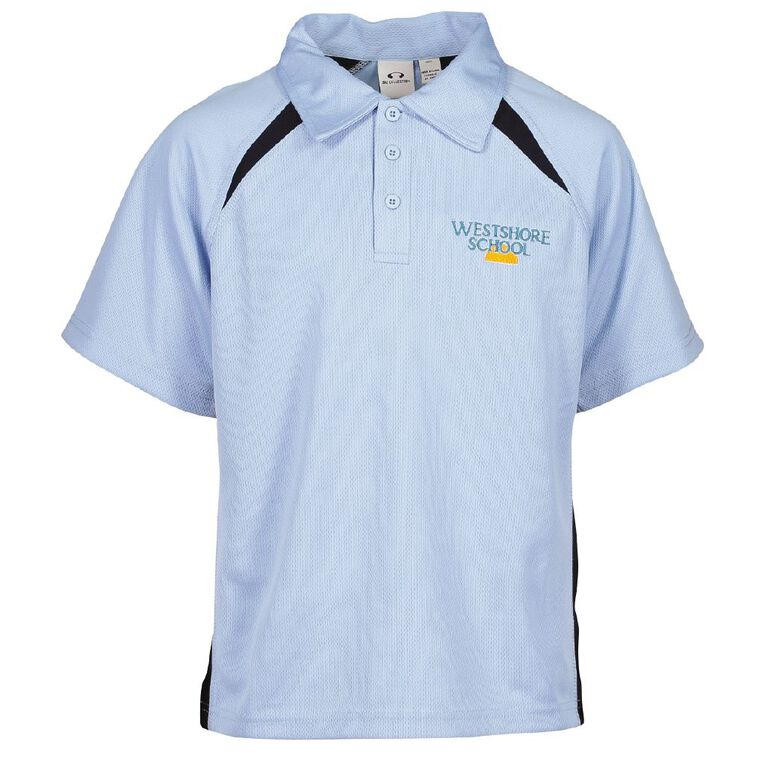 Schooltex Westshore Short Sleeve Polo with Embroidery, Blue/Navy, hi-res