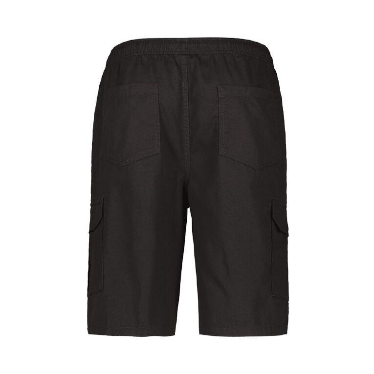 H&H Men's Elasticated Waist Cargo Shorts, Black, hi-res