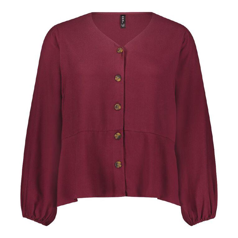H&H Plus Women's Twill Blouse, Red Dark, hi-res