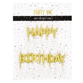 Party Inc Happy Bithday Candles Metallic Gold