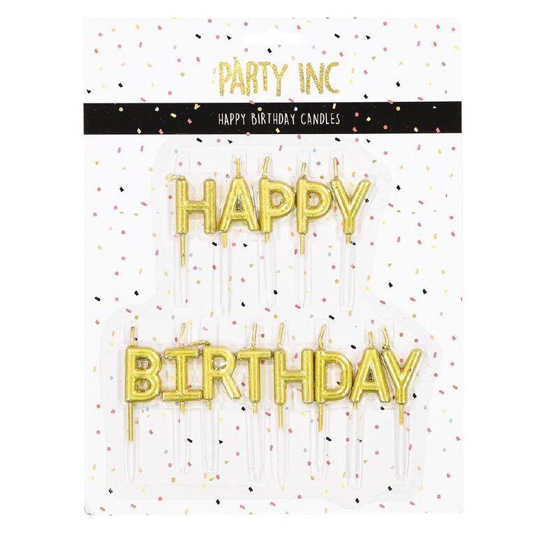 Party Inc Happy Bithday Candles Metallic Gold, , hi-res
