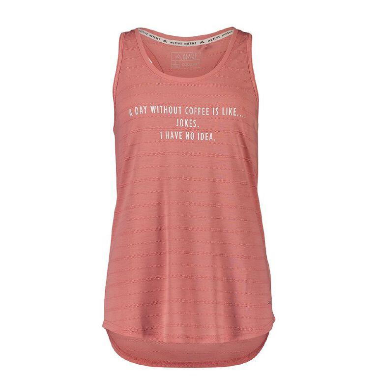 Active Intent Women's Placement Print Racer Back Singlet, Pink Mid, hi-res