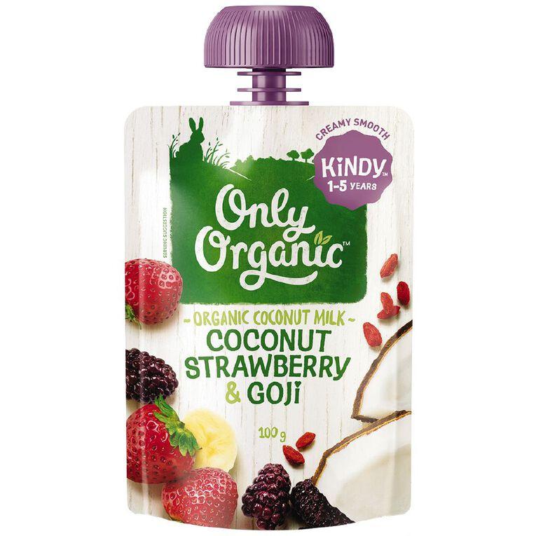 Only Organic Strawberry & Goji Berry Custard Smoothie Pouch 100g, , hi-res