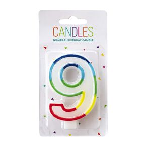 Numeral Candle 9 Rainbow Border 80mm x 10mm White