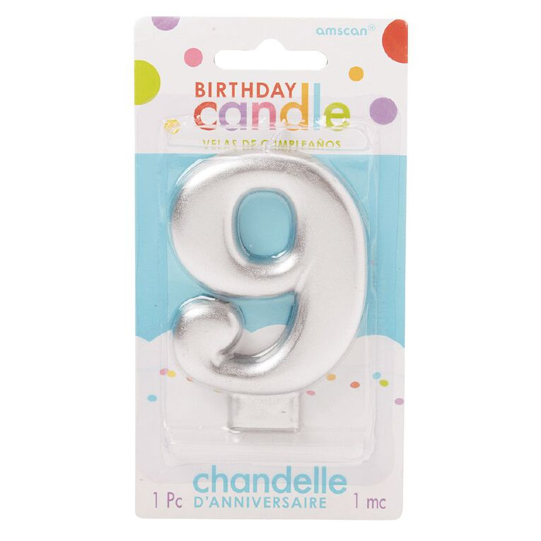 Candle Metallic Numeral #9 Silver, , hi-res