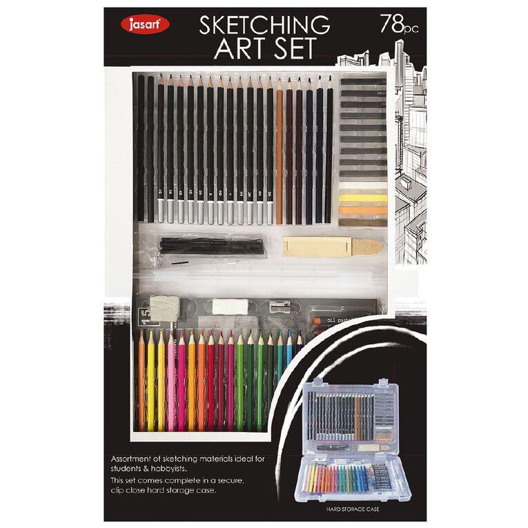 Jasart Art Set Sketching 78 Piece, , hi-res
