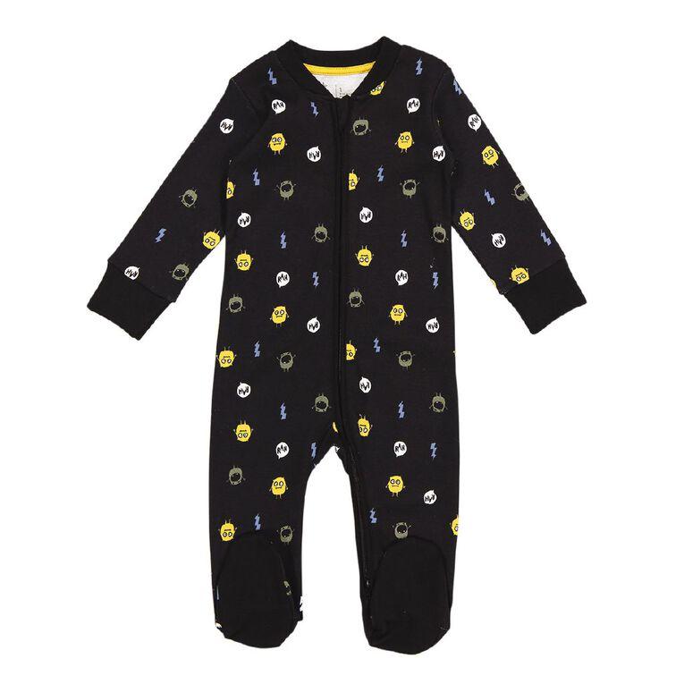 Young Original Baby 2 Way Zip All In One, Black, hi-res