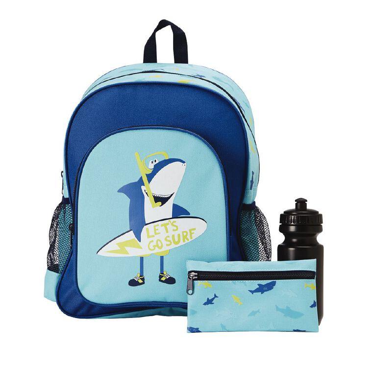 H&H Shark Print Bundle Backpack, Blue, hi-res