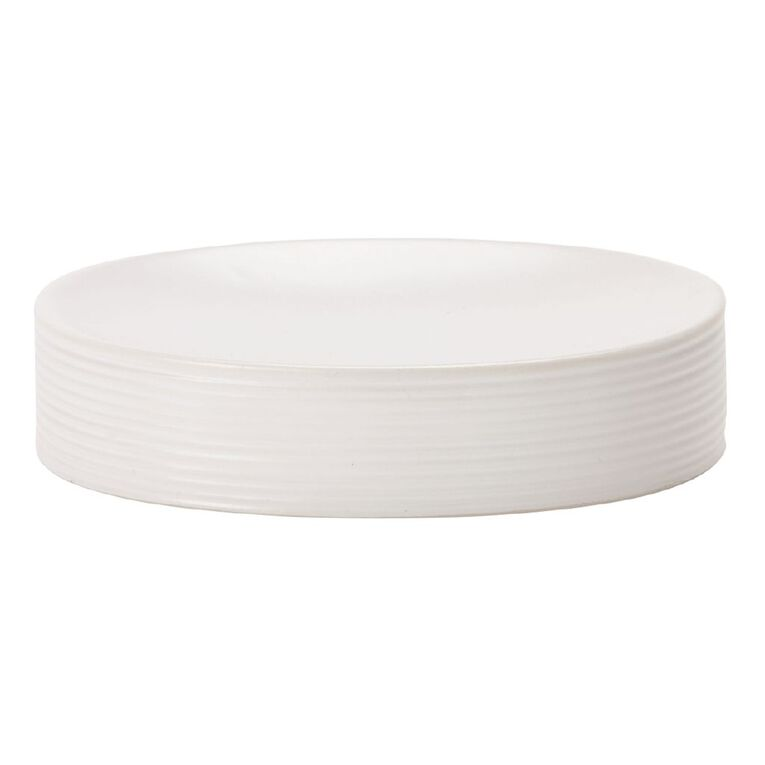 Living & Co Soap Dish Ribbed White One Size, White, hi-res