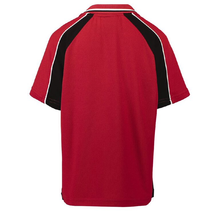 Schooltex Stanhope Road School Short Sleeve Polo with Embroidery, Red/Black, hi-res