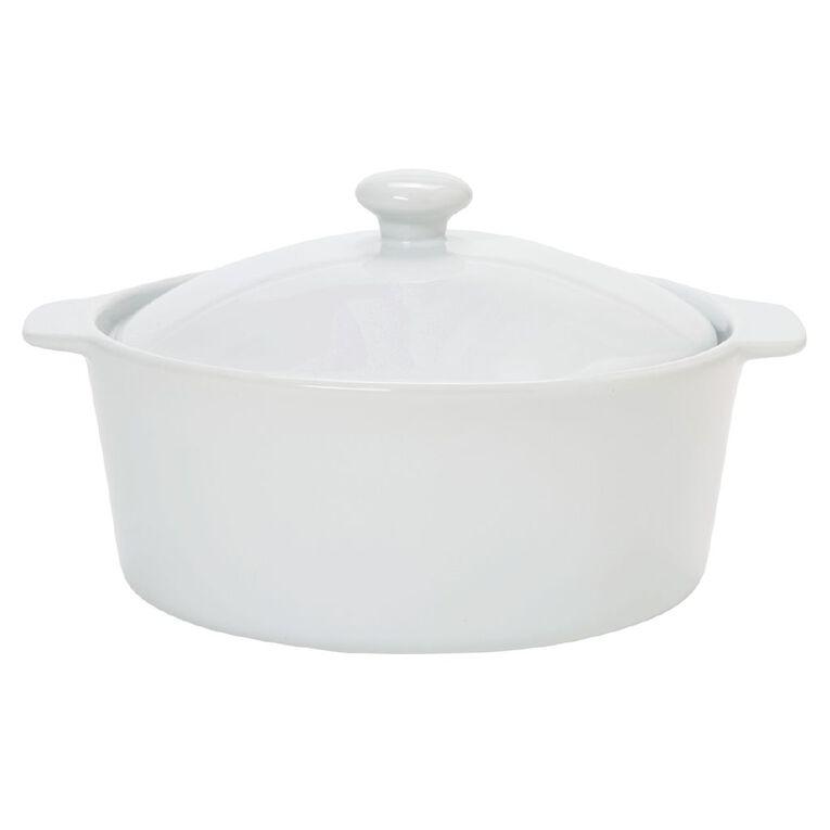 Living & Co Stoneware Casserole Dish Round 22cm, , hi-res