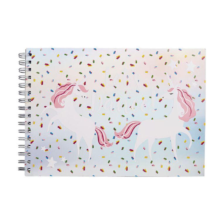 Kookie Bright Sketchpad Spiral Unicorn Pink A4, , hi-res