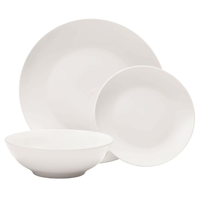 Living & Co Coupe Dinner Set White 12 Piece, , hi-res