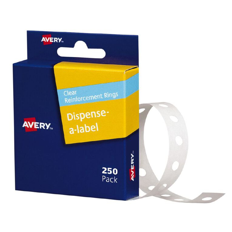 Avery Reinforcement Ring Labels 13mm diameter Clear 250 Labels, , hi-res