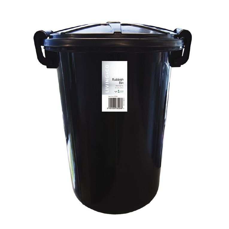Living & Co Rubbish Bin Black 70L, , hi-res